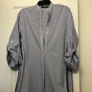 Zara button striped embroidered shirt sz S